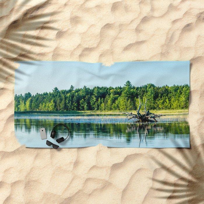 Driftwood Reflection Beach Towel