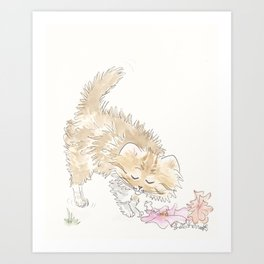 Fluffy Tabby Cat with Flowers and Fur Flying Art Print