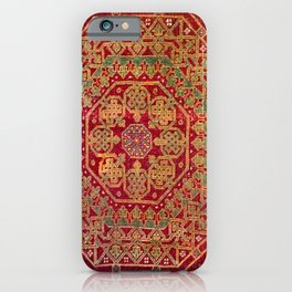 Bohemian Medallion VII // 15th Century Old Distressed Red Green Coloful Ornate Accent Rug Pattern iPhone Case