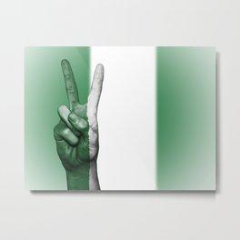 Nigeria Fingers Flag Metal Print