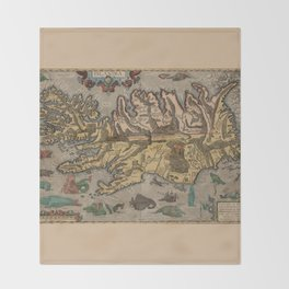 Antique Map Of Iceland 1603 Throw Blanket