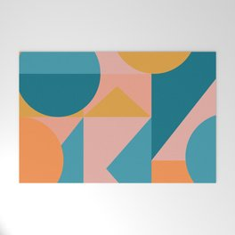 Colorful Geometric Abstraction in Blue and Orange Welcome Mat