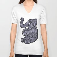 baby elephant V-neck T-shirts featuring Baby Elephant by Kate Shea