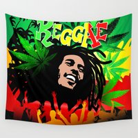 rasta Wall Tapestries featuring Reggae Rasta Colors Fun and Marijuana by BluedarkArt