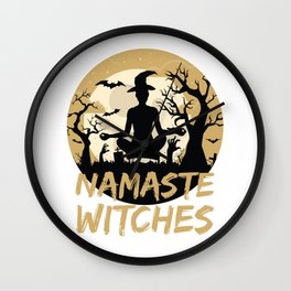 Namaste Witches Yoga Gift For Halloween Wall Clock