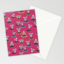 Koala Gymnasts On Trampolines Pattern On Pink Stationery Cards