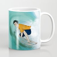 percy jackson Mugs featuring Percy Surfing by limevines