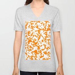 Spots - White and Orange Unisex V-Neck