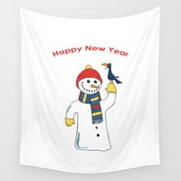 snowman Wall Tapestries featuring Snowman by Ercan Sert