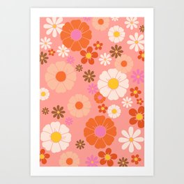 Groovy 60's Mod Flower Power Art Print
