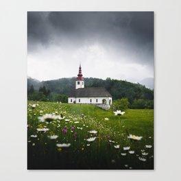 Church in a Meadow Scenic Landscape Canvas Print
