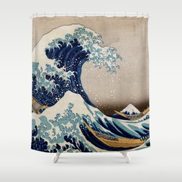 Under the Great Wave by Hokusai Shower Curtain