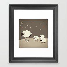 Sheeps jumping across a Fence Framed Art Print