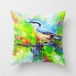 Watercolor Spring Bird Throw Pillow