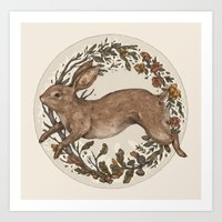 rabbit Art Prints featuring Rabbit by Jessica Roux