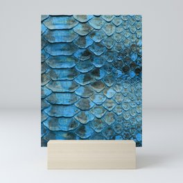 Abstract Blue Snakeskin Scales from Python Mini Art Print