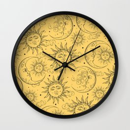 Yellow Magic Celestial Sun Moon Stars Wall Clock