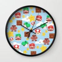 super mario Wall Clocks featuring Super Mario by Clef