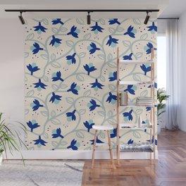 Fuchsias in Blue Wall Mural