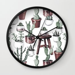 Happy Potted Cacti in Rose Gold Pots Wall Clock