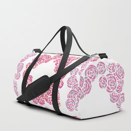 Digital Overlapping Colourful Cluster of Roses Design Duffle Bag