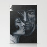 laura palmer Stationery Cards featuring Portrait of Neil Gaiman and Amanda Palmer by Laura Baran