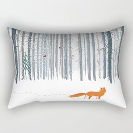 Fox in the white snow winter forest illustration Rectangular Pillow