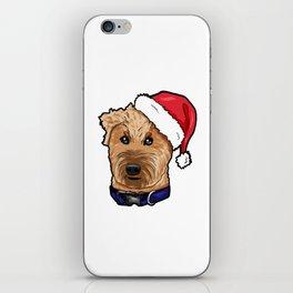 Irish Soft Coated Wheaten Terrier Dog Christmas Hat iPhone Skin
