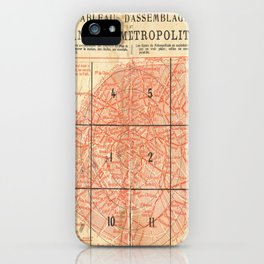 Vintage Paris City Centre Map iPhone Case
