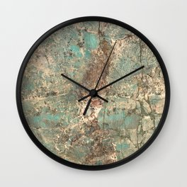 Turquoise and Fawn Brown Marble Wall Clock