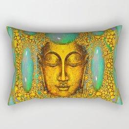 TURQUOISE ART DECO & FIRE OPALS GOLD BUDDHA ABSTRACT Rectangular Pillow