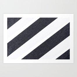 White Black Stripes Art Print