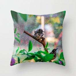 Silly New Holland Honeyeater Sprinkler Bonanza Throw Pillow