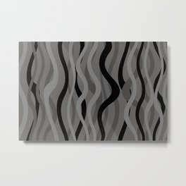 Wave Lines and Stripes black grey grey Metal Print