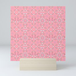 likely star shapes pattern on the pink background Mini Art Print