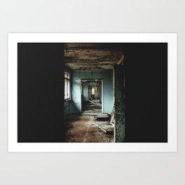 School hallway in Pripyat, Ukraine in the Chernobyl zone of exclusion Art Print