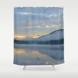Dreamy Morning: Serene Shades of Blue Shower Curtain
