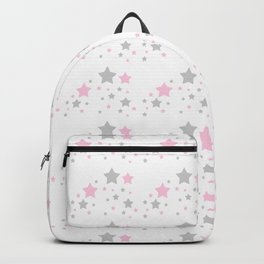 Pink Grey Gray Stars Backpack