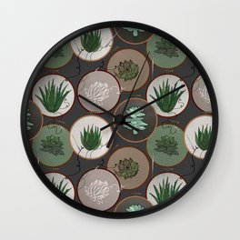 Succulent Embroidery Hoops Wall Clock