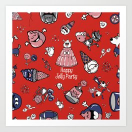 Jelly Party (Red) Art Print
