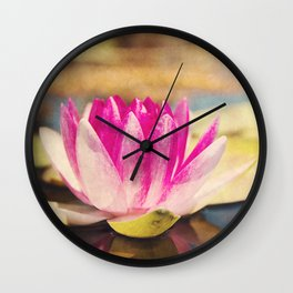 Quiet: A Pink Lily Pad  Wall Clock
