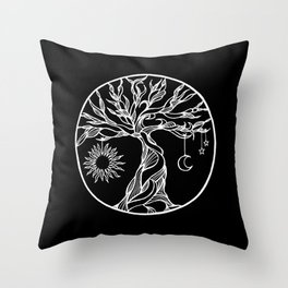 black and white tree of life with hanging sun, moon and stars II Throw Pillow