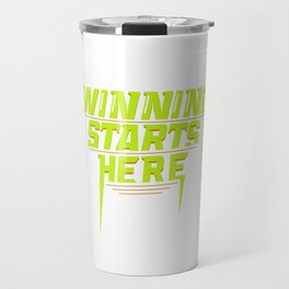 Winning Starts Here Running Runner 5K Fun Run Green Travel Mug