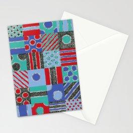 Spot Stripe Patch Scratch Print by Nettwork2Design - Nettie Heron-Middleton Stationery Cards