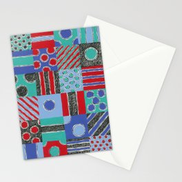 Spot Stripe Patch Scratch Print by Nettwork2Design - Nettie Heron-Middleton Stationery Cards