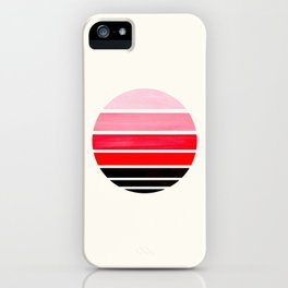 Red Mid Century Modern Minimalist Circle Round Photo Staggered Sunset Geometric Stripe Design iPhone Case