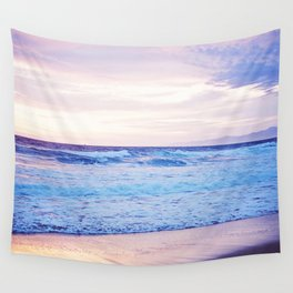 Purple Sunset over Hermosa Beach, Los Angeles  Wall Tapestry
