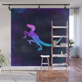 VELOCIRAPTOR IN SPACE // Dinosaur Graphic Art // Watercolor Canvas Painting // Modern Minimal Cute Wall Mural