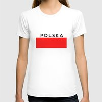 poland T-shirts featuring poland polish country flag polska name text by tony tudor