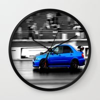subaru Wall Clocks featuring Subaru Racer by VHS Photography